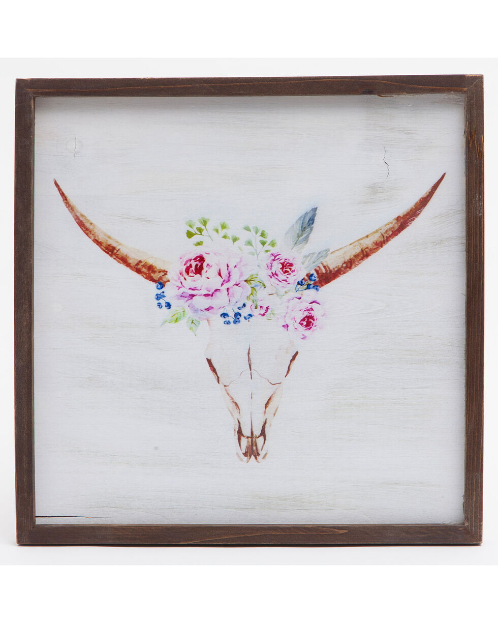 BB Ranch Floral Longhorn Wall Décor , Multi, hi-res