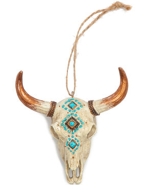 BB Ranch Sparkly Cow Skull Ornament, No Color, hi-res