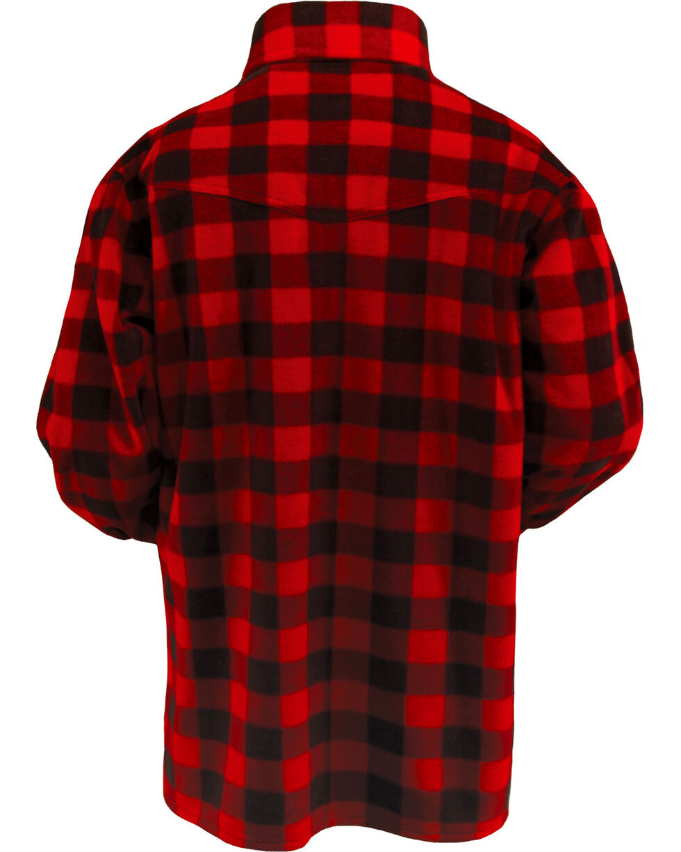 Outback Trading Men's Big Fleece Long Sleeve Shirt, Red, hi-res