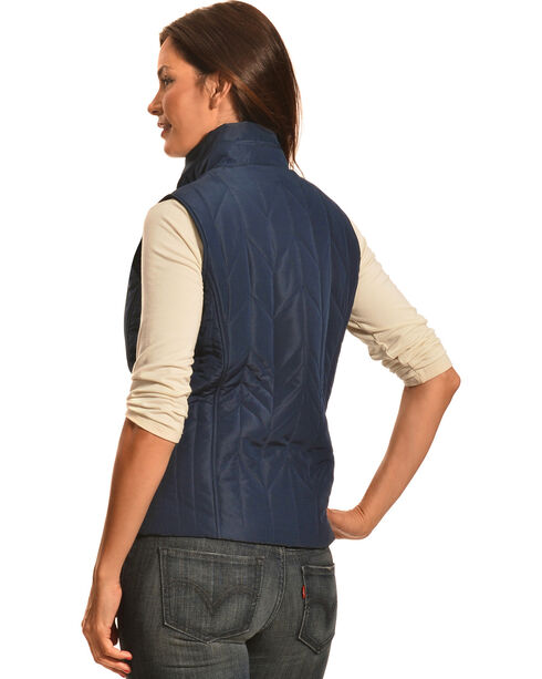 Jane Ashley Women's Navy Zig Zag Snap Vest, Navy, hi-res