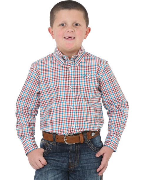Wrangler Boys' 20X Advanced Comfort Button Down Shirt , Navy, hi-res