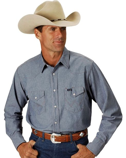 Wrangler Chambray Work Shirt, Chambray, hi-res