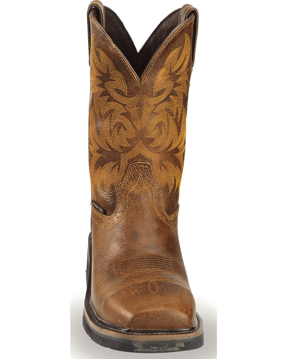 "Justin Men's 11"" Composition Toe Western Work Boots, Tan, hi-res"