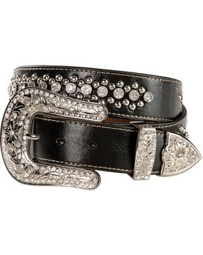 Nocona Cross & Wing Inlay Belt, Black, hi-res
