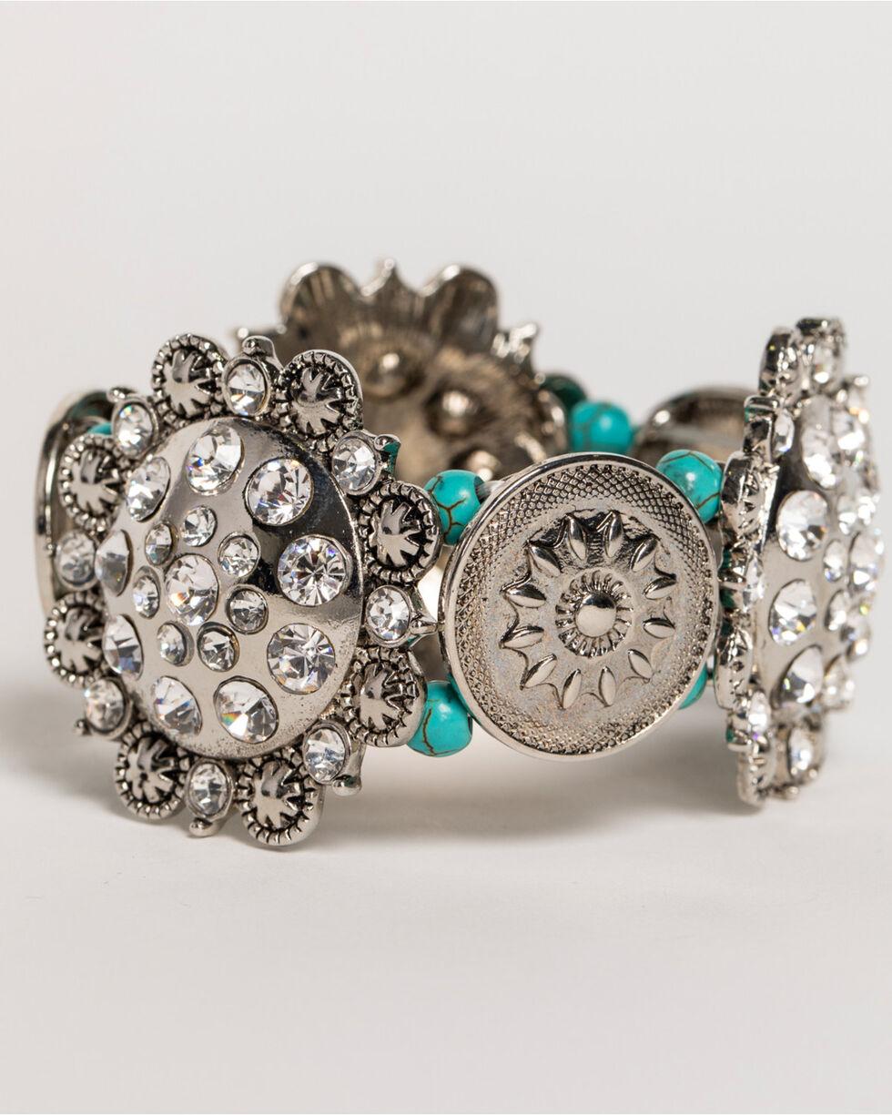 Shyanne® Women's Rhinestone Concho Bracelet, Silver, hi-res