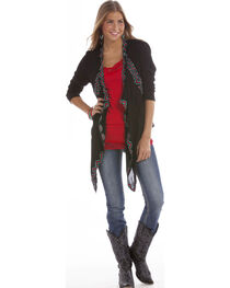 Rock and Roll Cowgirl Women's Open Front Wrap Cardigan, , hi-res