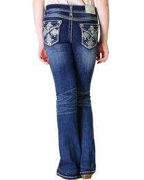 Grace in LA Girls' Dark Wash Fancy Flap Pocket Bootcut Jeans , , hi-res