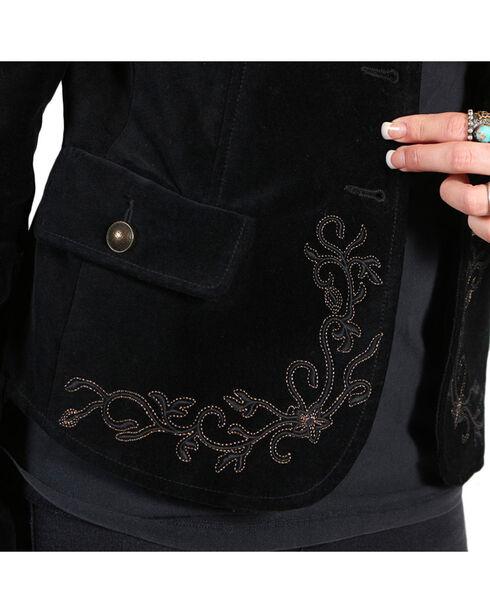 White Crow Women's Vine Embroidered Velvet Jacket, Black, hi-res