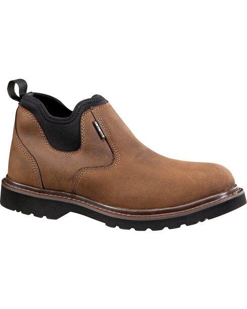 """Carhartt 4"""" Brown Weatherproof Romeo Work Shoes, Dark Brown, hi-res"""