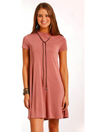 Panhandle Women's Cap Sleeve Modal Knit Flare Dress, , hi-res