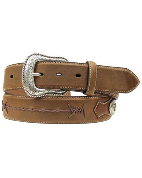 Nocona Scalloped Overlay with Conchos Shoelace Stitched Belt, Med Brown, hi-res
