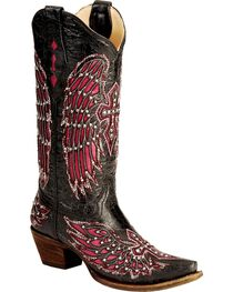 Corral Women's Cross and Wing Inlay Western Boots, , hi-res