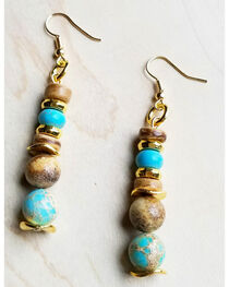 Jewelry Junkie Women's Blue Regalite and Wood Earrings with Gold Accents, , hi-res
