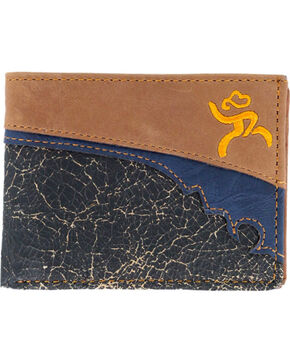 HOOey Men's Roughy Crackled Bi-Fold Wallet, Brown, hi-res