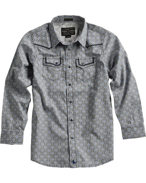 Cody James® Boys' Diamond Printed Western Long Sleeve Shirt, Grey, hi-res