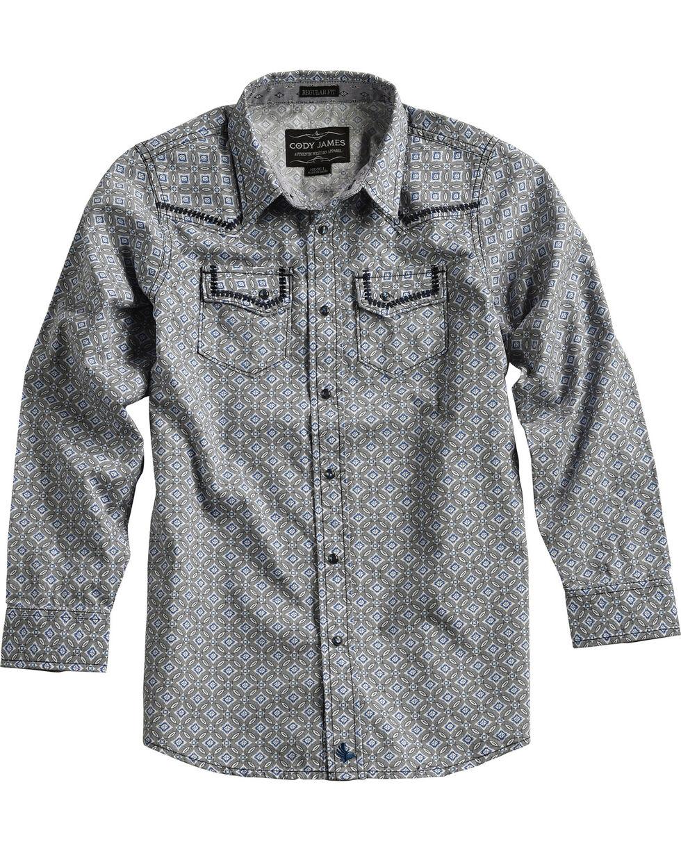 Cody James® Boys' Diamond Printed Western Long Sleeve Shirt, , hi-res