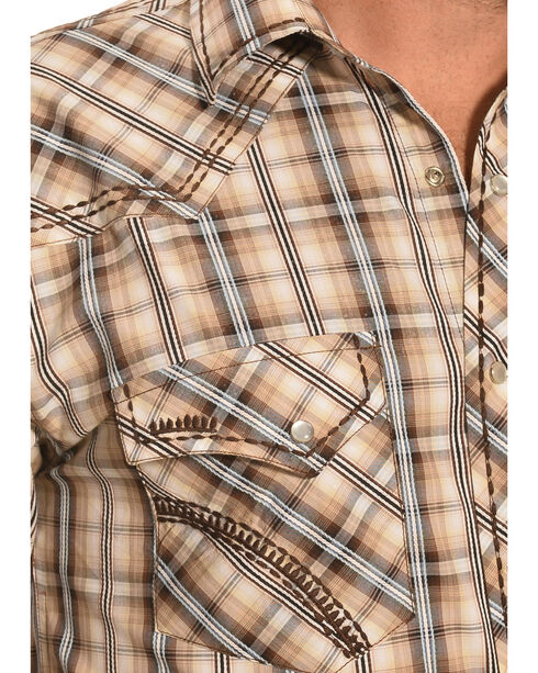 Crazy Cowboy Men's Brown & Grey Plaid Snap Shirt, Grey, hi-res