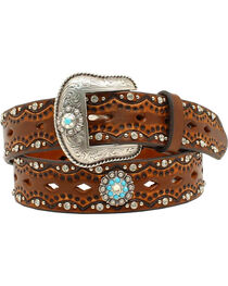 "Ariat Women's 1 1/2"" Diamond Concho Turquoise Stone Belt, , hi-res"