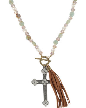 Shyanne® Women's Long Beaded Cross Necklace, Gold, hi-res