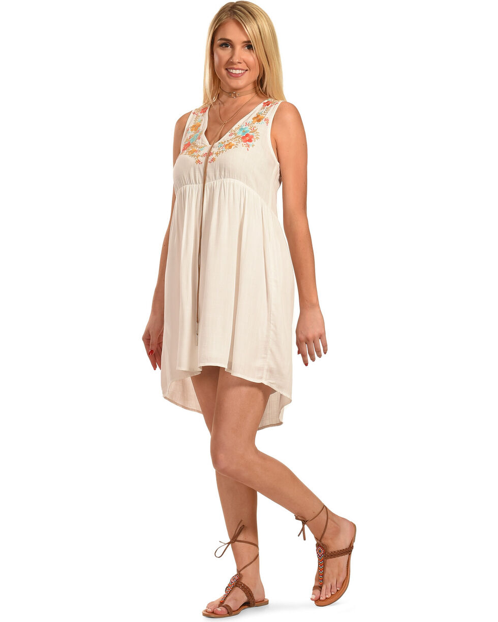 Polagram Women's Sleeveless High-Low Embroidered Mini Dress, White, hi-res