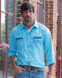 Ryan Michael Men's Neon Blue Tinted Indigo Shirt, , hi-res