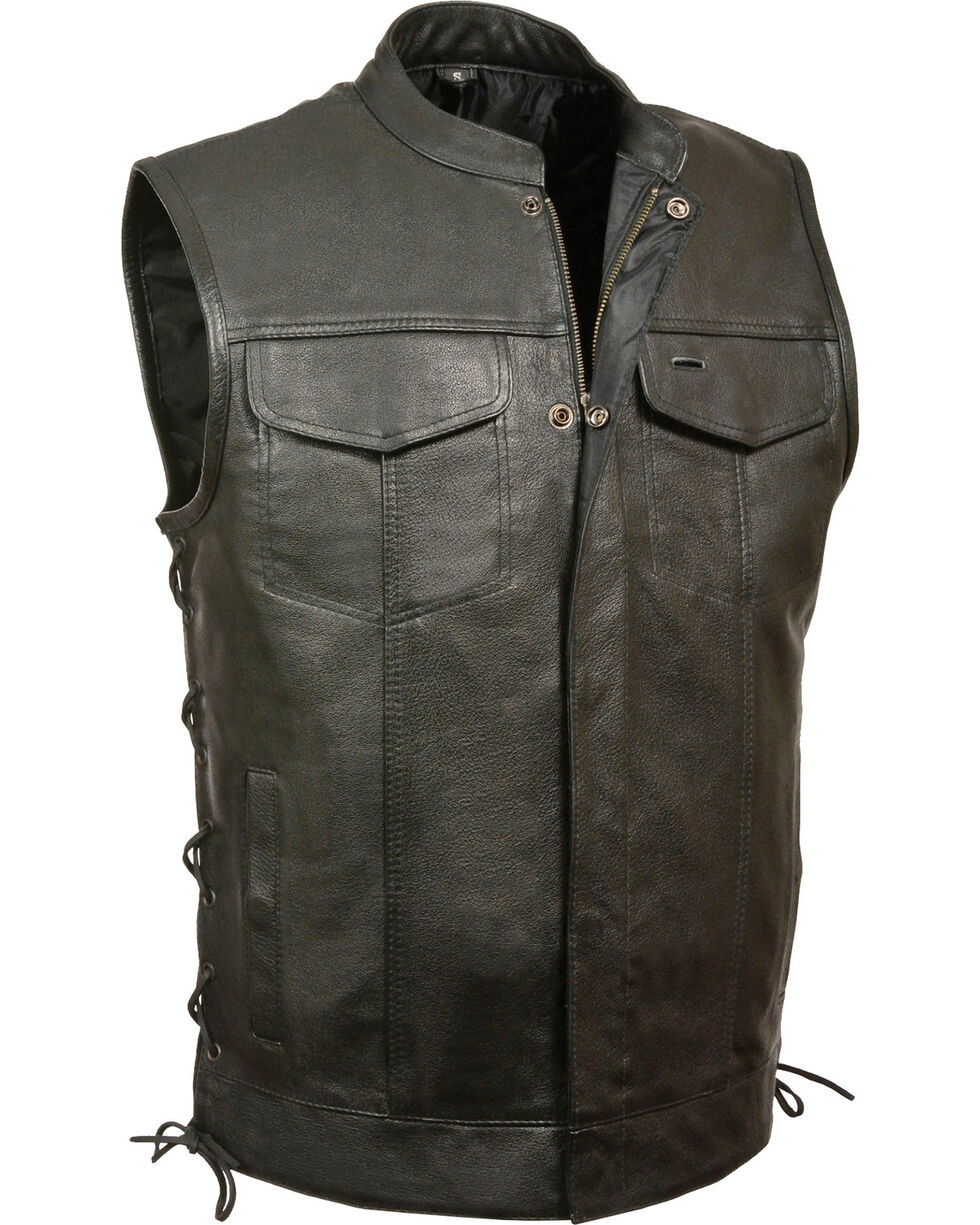 Milwaukee Leather Men's Side Lace Snap/Zip Front Club Vest - Big - 3X, Black, hi-res