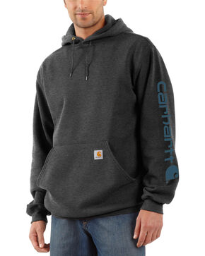 Carhartt Men's Hooded Logo-Sleeve Sweatshirt, Grey, hi-res