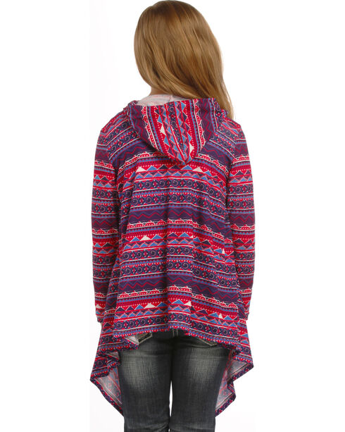Rock & Roll Cowgirl Girls' Long Sleeve Hoodie Cardigan, Grape, hi-res