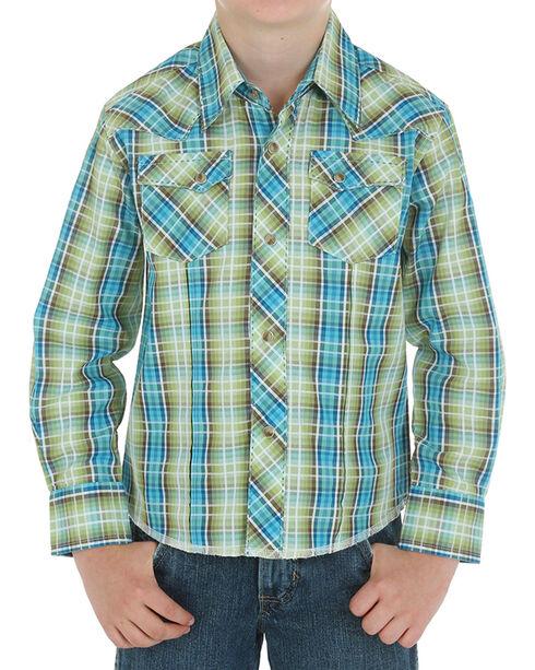 Wrangler Boy's Assorted Plaid Long Sleeve Western Shirt, , hi-res