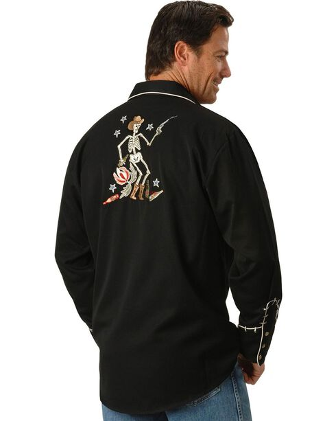 Scully Men's Skeleton Embroidered Long Sleeve Shirt, Black, hi-res