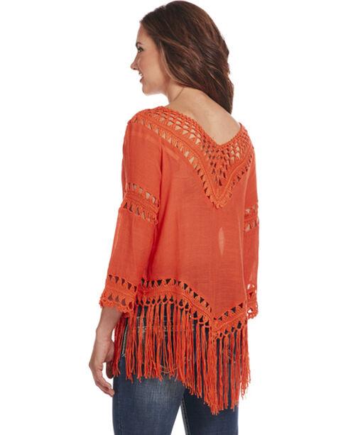 Cowgirl Up Women's 3/4 Sleeve Crochet Fringe Top, Orange, hi-res