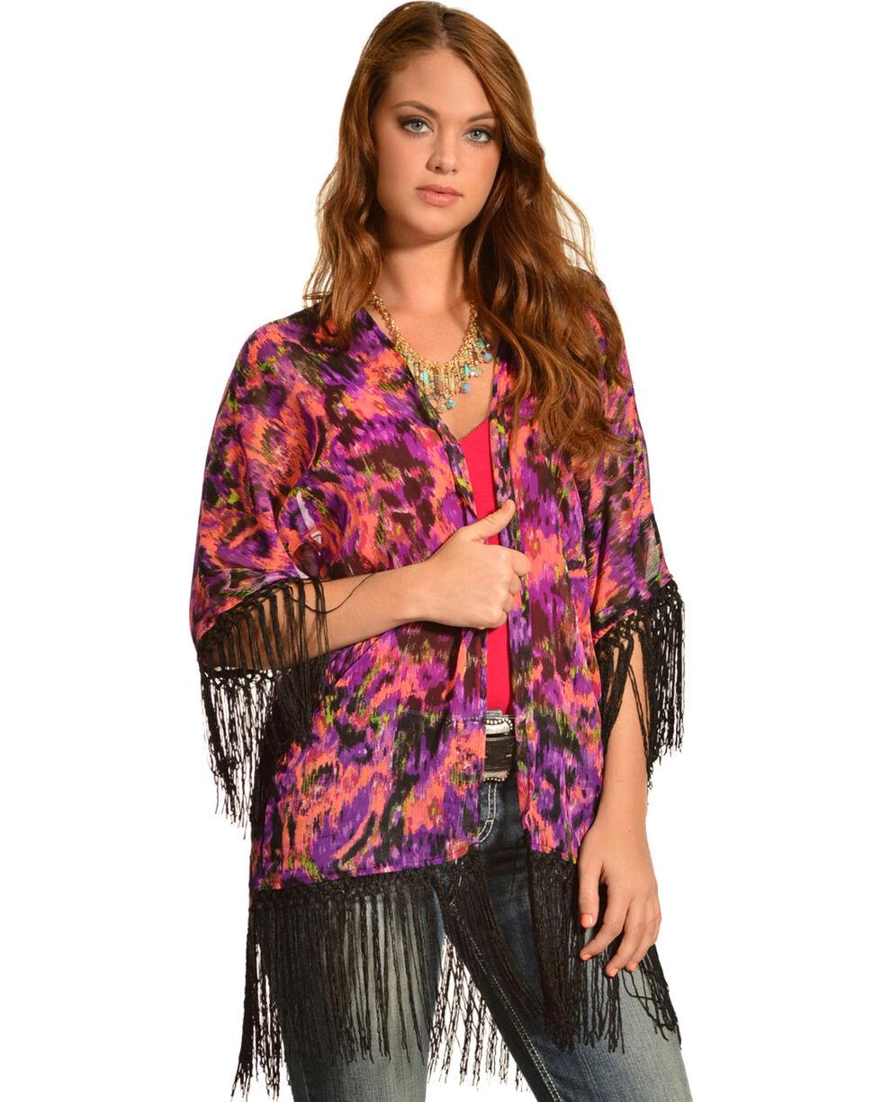 Wrangler Rock 47 Women's Multicolor Ikat Fringe Kimono Cardigan, Multi, hi-res