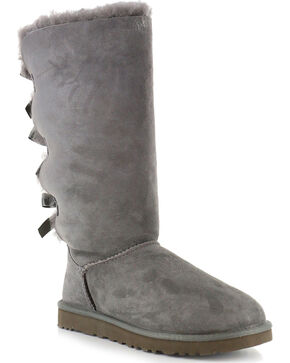 UGG Women's Grey Classic Bailey Bow Tall Boots - Round Toe , Grey, hi-res