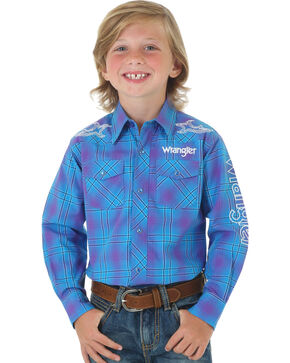 Wrangler Boys' Blue Logo Long Sleeve Plaid Shirt , Blue, hi-res