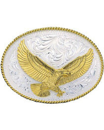 Montana Silversmiths Large Oval Soaring Eagle Buckle, , hi-res