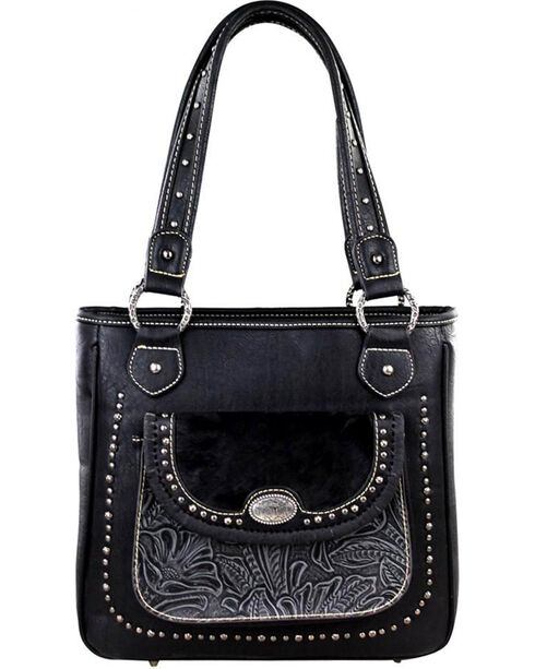 Montana West Trinity Ranch Black Tooled Concealed Carry Handbag , Black, hi-res