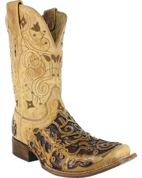 Corral Men's Square Toe Caiman Inlay Exotic Boots, Brown, hi-res