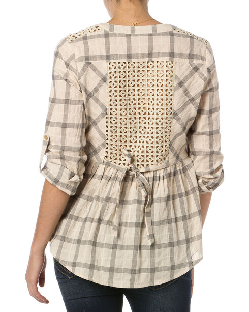 Miss Me Taupe Checkered Peplum Top , Taupe, hi-res