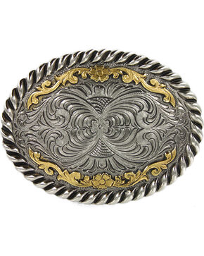 Cody James Men's Oval Dual-Tone Filigree Belt Buckle, Brown, hi-res