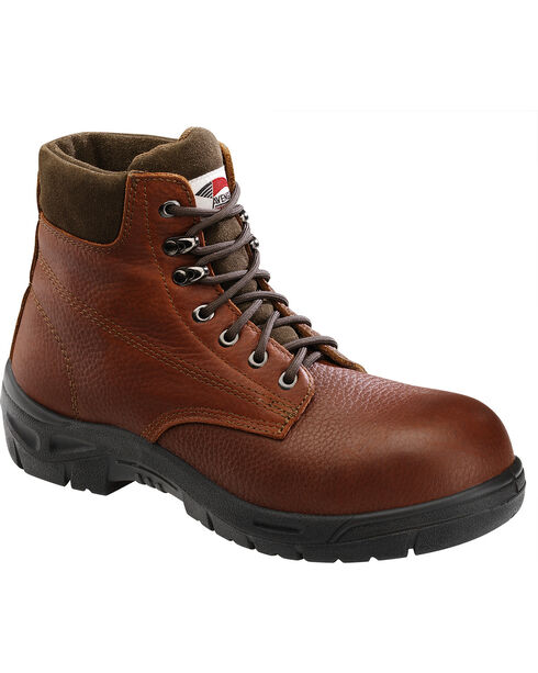 Avenger Men's Brown Pebbled Leather Anti-Slip Work Boots - Steel Toe, Brown, hi-res