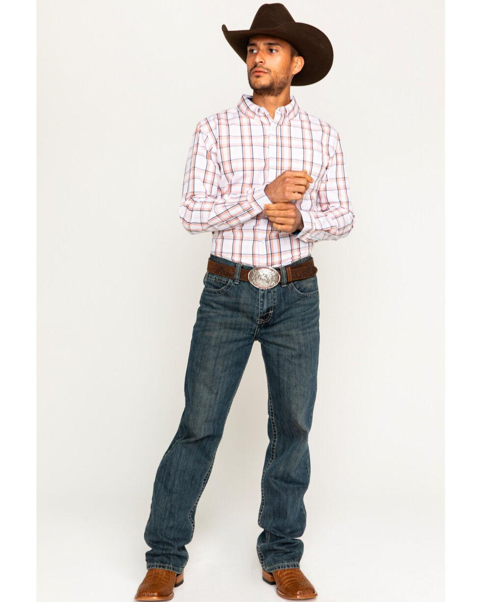 Cody James Men's Sundown Plaid Long Sleeve Shirt, Orange, hi-res