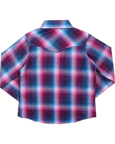 Cumberland Outfitters Girls' Mulberry Plaid Long Sleeve Shirt, Pink, hi-res