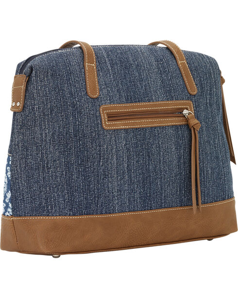 Bandana by American West Indigo Zip Top Satchel Tote, Blue, hi-res