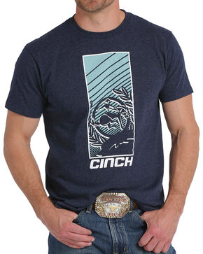Cinch Men's Navy Screen Print Crew Neck Tee, Navy, hi-res