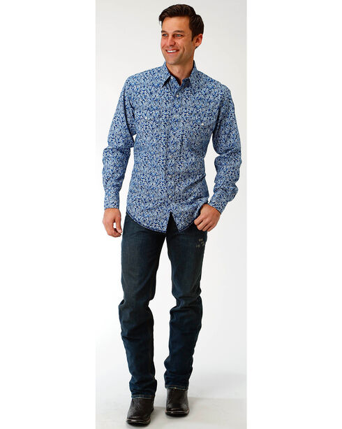 Roper Men's Blue Paisley Print Western Shirt , Blue, hi-res