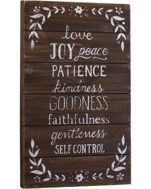 Demdaco Brown Love Joy Peace Patience Wall Art , Brown, hi-res