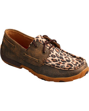 Twisted X Boots Women's Cheetah Print Driving Mocs, Leopard, hi-res