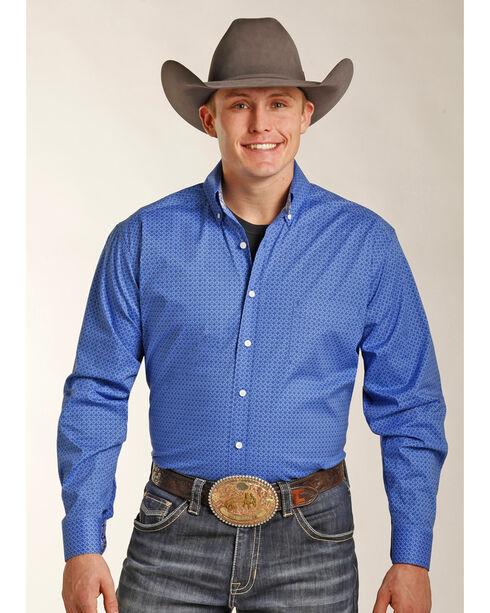 Tuf Cooper Men's Blue Geo Print Shirt , Blue, hi-res
