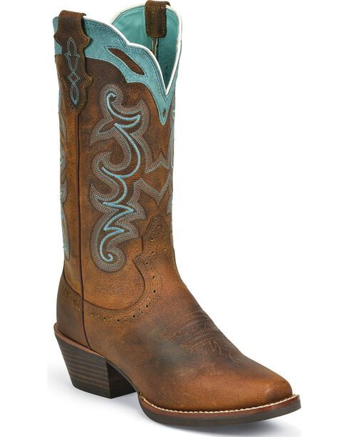 Justin Women's Rugged Tan Silver Collection Western Boots, Brown, hi-res