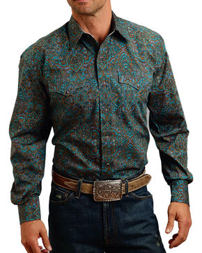 Stetson Men's Paisley Printed Long Sleeve Shirt, Green, hi-res